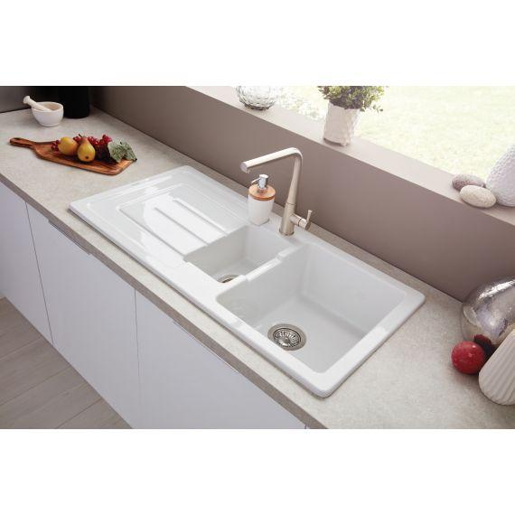 Austell 1.5 Bowl Ceramic Inset Kitchen Sink & Drainer