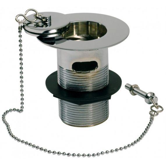 "1 1/2"" Plug & Chain Belfast Sink Waste Slotted Chrome Brass"