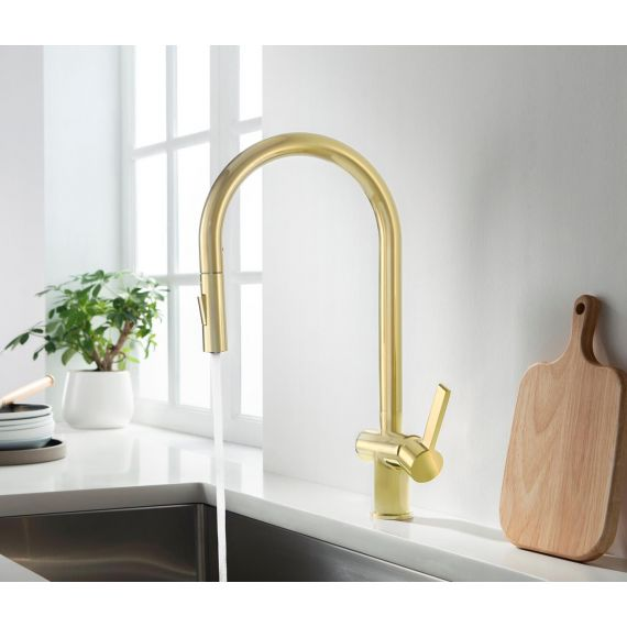 Vos Brushed Brass Lever Pull Out Kitchen Sink Tap 23127BBR