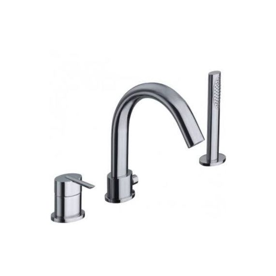 JustTaps Ovaline 3 Hole Single Lever Bath Shower Mixer With Extractable Handset 2618045