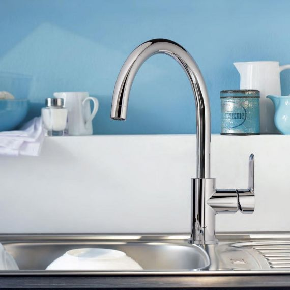Grohe 31367 BauEdge Single Lever Kitchen Sink Mixer Tap Swivel Spout