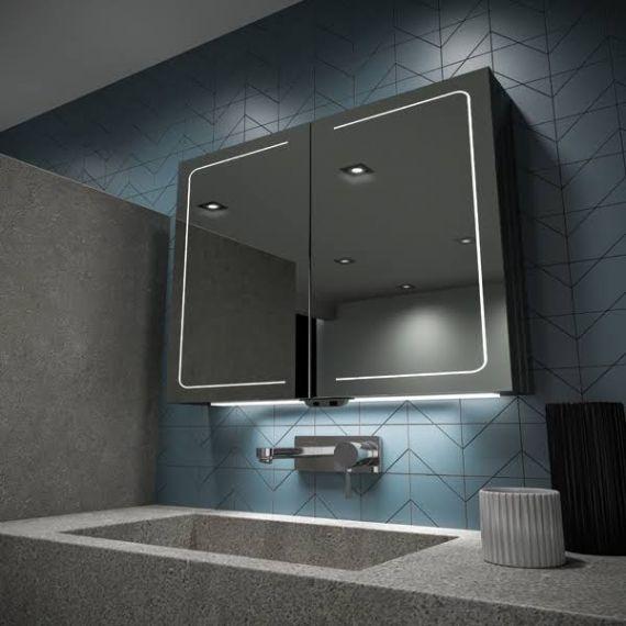 HiB Vapor 80 LED Aluminium Demisting Mirror Cabinet 51600