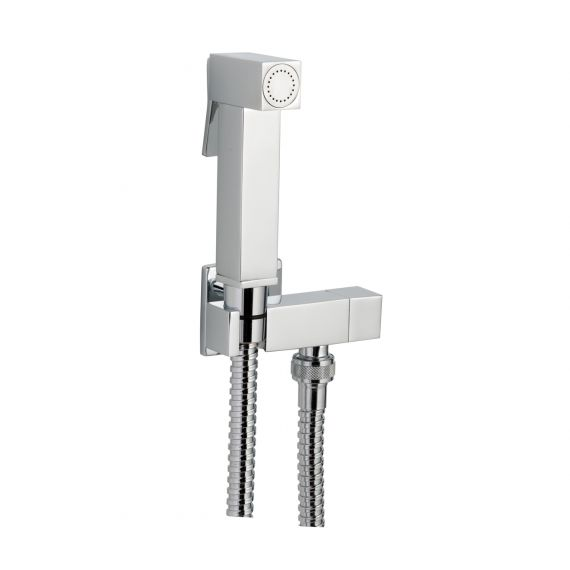 Square Chrome Douche Set With Built In Valve & Bracket