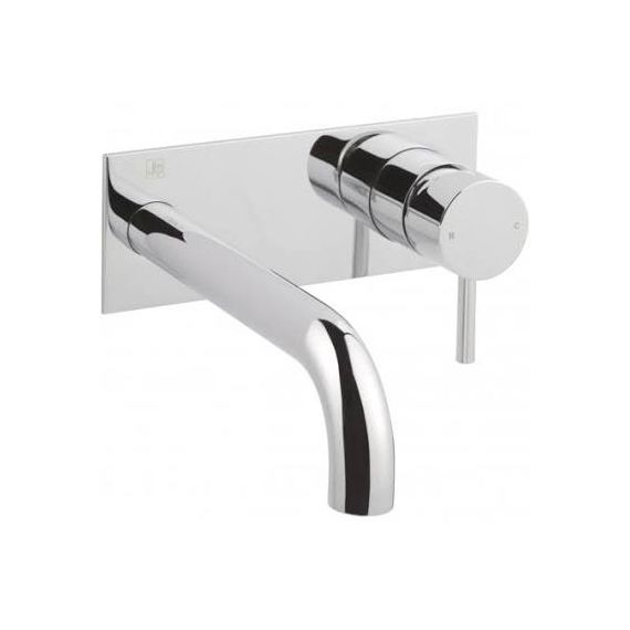 JustTaps Florence Single Lever Wall Mounted Basin Mixer With Back Plate 195mm Spout Chrome 55273
