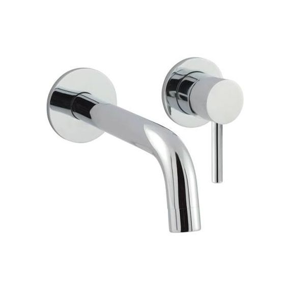 JustTaps Florence Single Lever Wall Mounted Basin Mixer With Back Plate 240mm Spout Chrome 55273EX