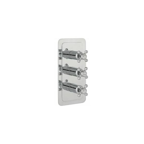 JustTaps Grovesnor Cross Nickel Thermostatic Concealed 3 Outlet Vertical Shower Valve 76691NK