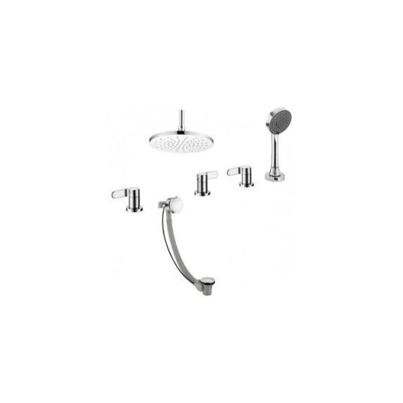 JustTaps Vue 4 Hole 3 Outlet Bath Set With Extractable Handset, Exofil and Overhead Shower 87678