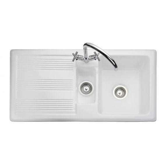 Rangemaster Portland Ceramic 1.5 Bowl Inset Sink & Drainer