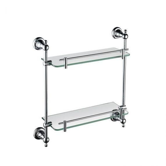 Heritage Holborn 410mm Double Glass Shelf with Chrome Brackets