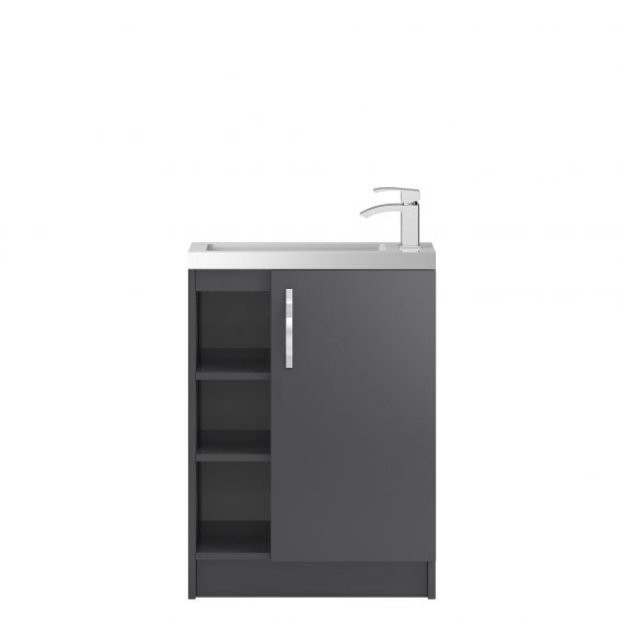 Hudson Reed Apollo Compact Gloss Grey Floor Standing 600mm Cabinet & Basin