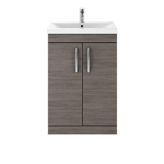 Nuie Athena Brown Grey Avola 600mm Floor Standing Vanity With Basin 1