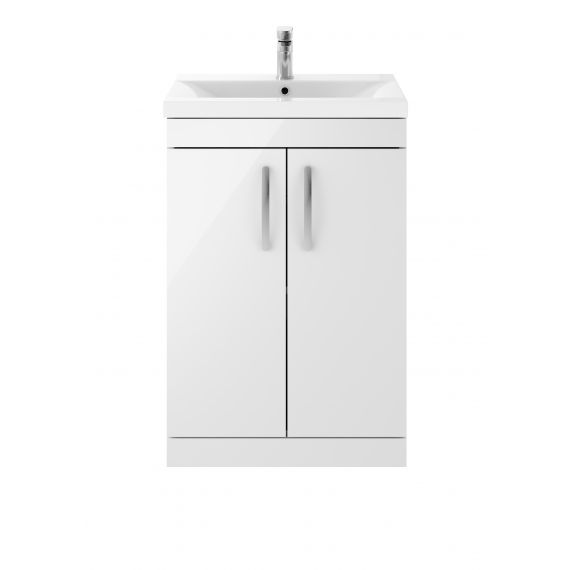 Nuie Athena Gloss White 600mm Floor Standing Vanity With Basin 1