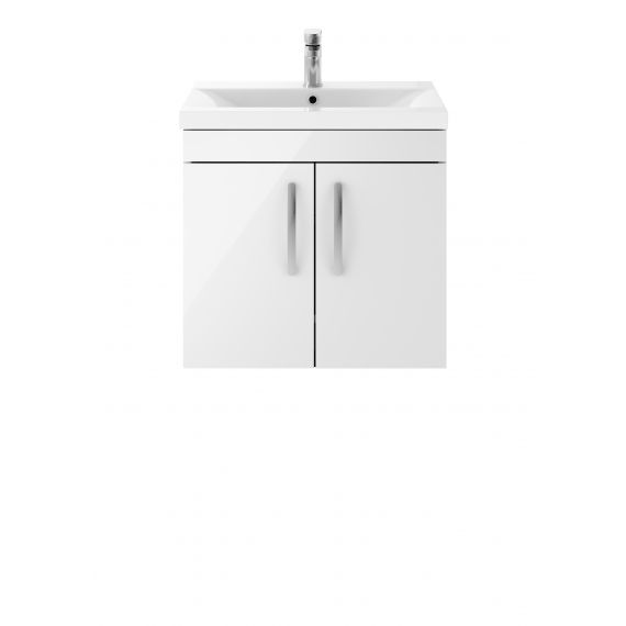 Nuie Athena Gloss White 600mm Wall Hung Cabinet & Basin 1