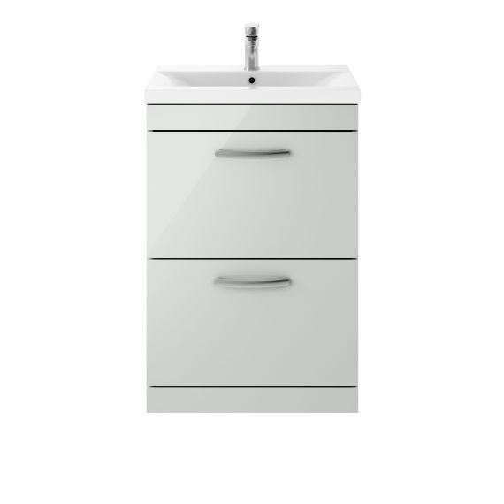 Nuie Athena Gloss Grey Mist 600mm Floor Standing Cabinet & Basin 1