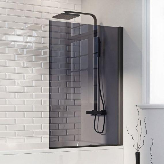Matt Black Smoked Glass Bath Shower Bath Screen Black