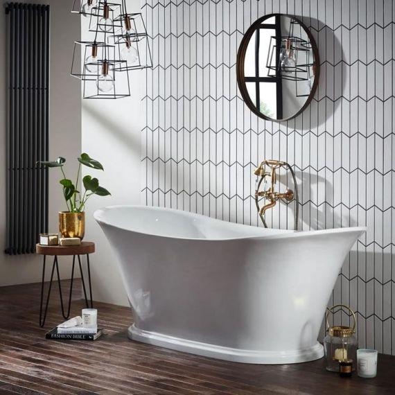 Frontline Holborn Bow 1800 x 800mm White Freestanding Bath