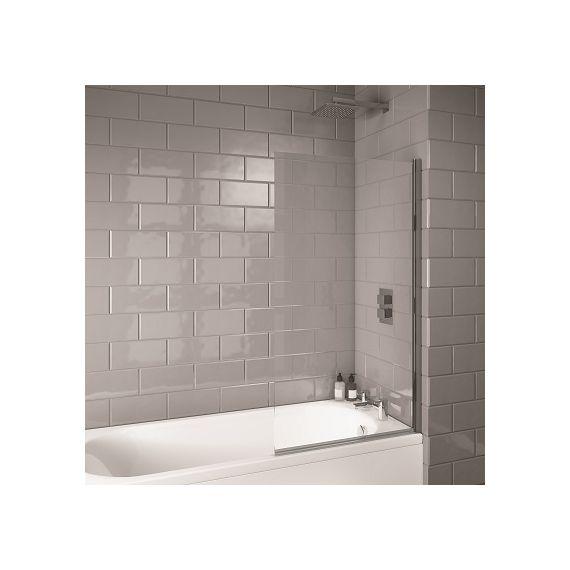 Square Hinged 6mm Bath Screen 1400 x 800