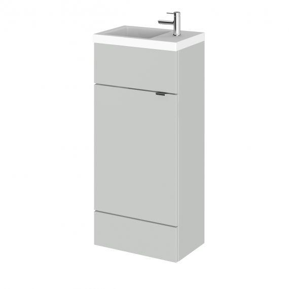 Fusion Gloss Grey Mist 400mm Vanity Unit & Basin - Compact