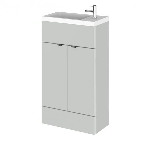 Fusion Gloss Grey Mist 500mm Compact Vanity Unit & Basin