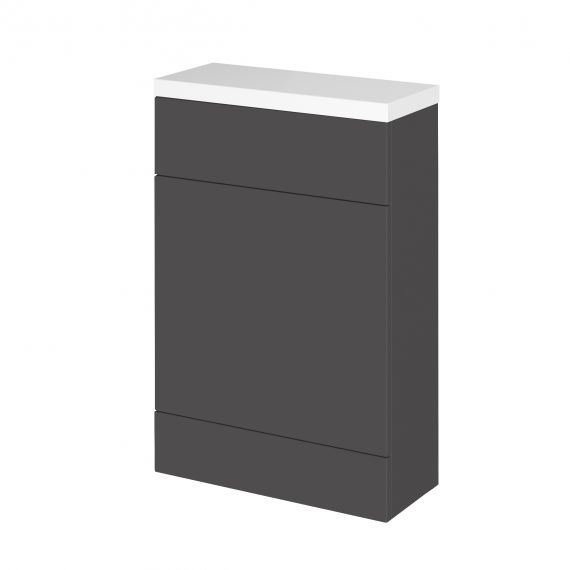 Fusion Gloss Grey WC Unit & Polymarble Top - Compact
