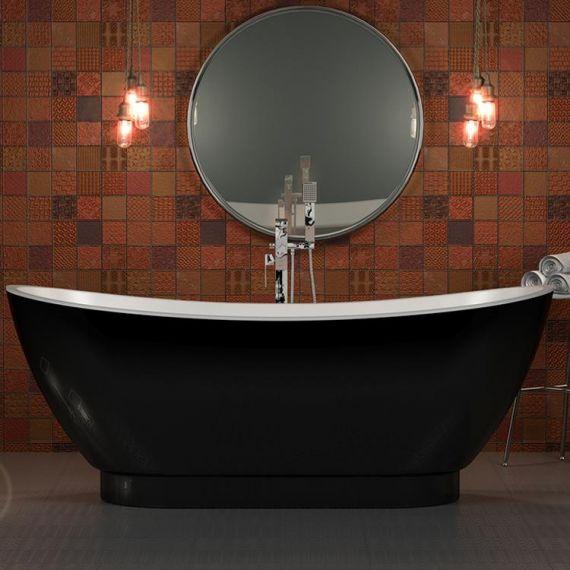 Charlotte Edwards Richmond Black 1760mm Modern Freestanding Bath CE11036