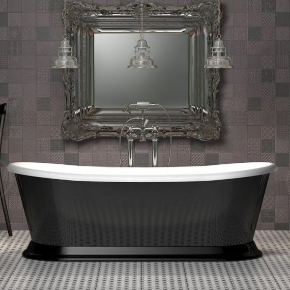 Charlotte Edwards Rosemary 1710mm Gloss Black Freestanding Bath