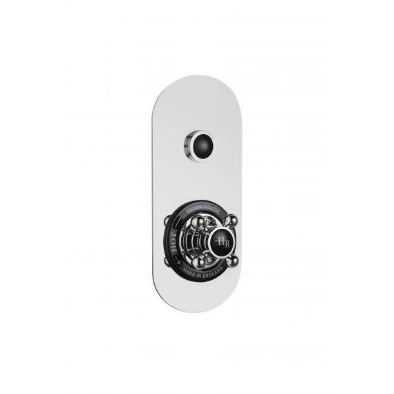 Hudson Reed Topaz Black Traditional Push Button Shower Valve (Single Outlet)