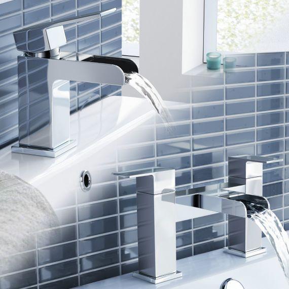 Waterfall Basin & Bath Filler Tap Set