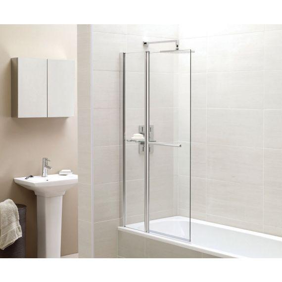 Frontline Identiti² 6mm Square Bath Screen with Fixed Panel, Towel Rail & Shelf