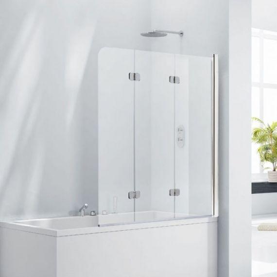 Frontline Aquaglass+ 6mm Frameless 3 Fold Bath Screen - Left Hand