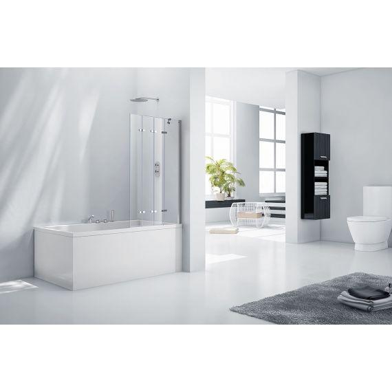 Frontline Aquaglass+ 6mm Frameless 4 Fold Bath Screen - Left Hand
