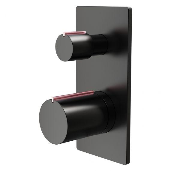Velar Black & Copper Dual Outlet Shower Valve