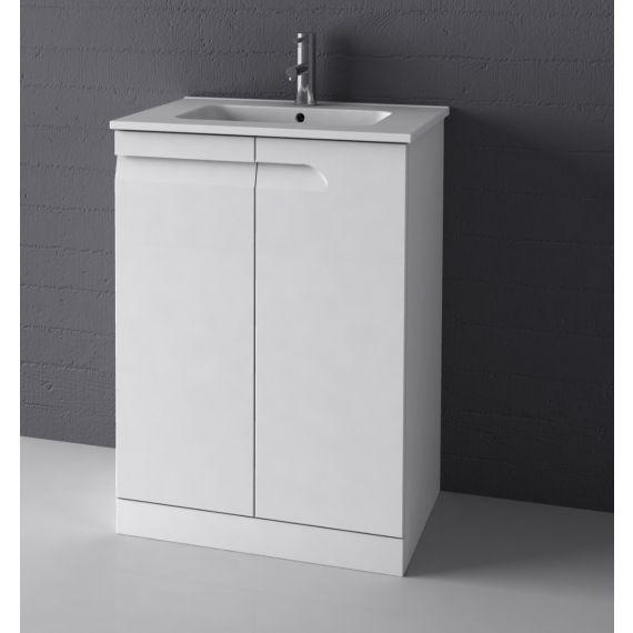 Frontline Vitale 600mm Floor Standing - Gloss White with basin