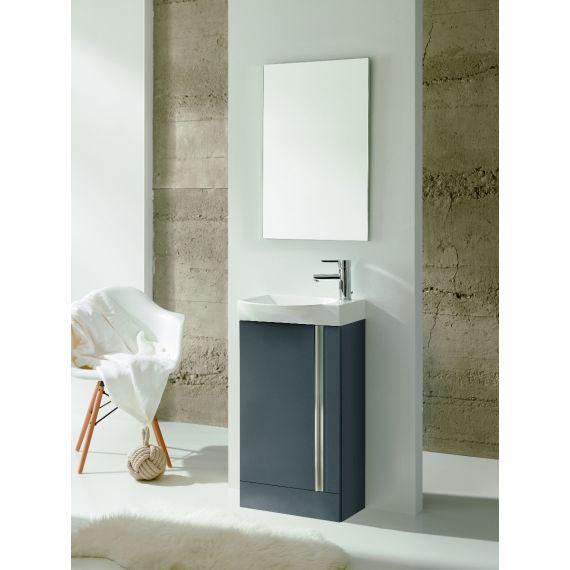 Frontline Elegance Floorstanding Vanity Unit And Mirror - Gloss Grey
