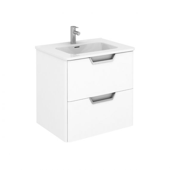 Frontline Life 600mm 2 Drawer Wall Unit - Gloss White with Basin