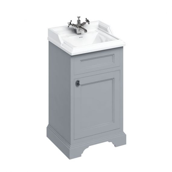 Burlington 50cm Vanity Unit One Door Grey with 1 tap hole Basin
