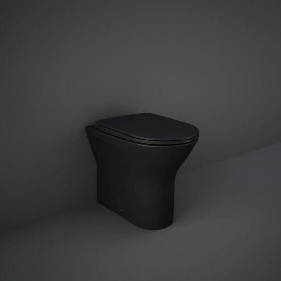 RAK-Feeling Rimless Back to Wall Pan and soft close seat in Matt Black
