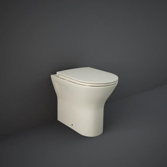 RAK-Feeling Rimless Back to Wall Pan and soft close seat in Matt Greige