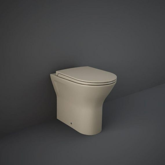 RAK-Feeling Rimless Back to Wall Pan and soft close seat in Matt Cappuccino
