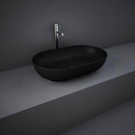 RAK-Feeling 55cm Oval Counter Top Wash Basin  in Matt Black
