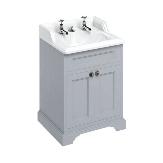 Burlington 65cm Vanity Unit Double Door Grey with 2 tap hole Basin