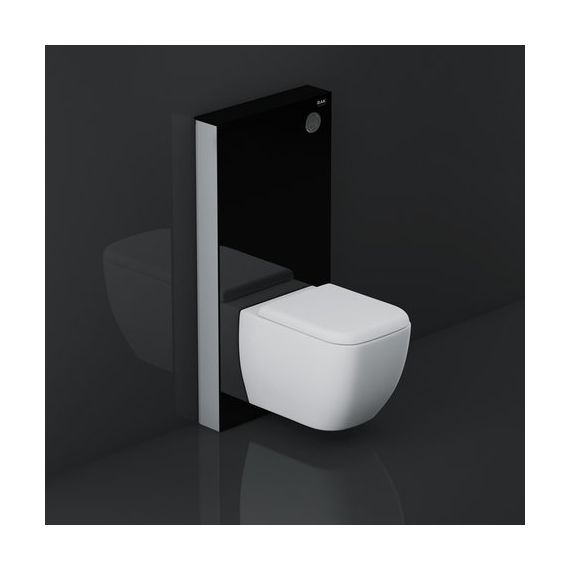 RAK Ceramics Obelisk Glass Cabinet Cistern Frame for Wall Hung Toilets Gloss Black