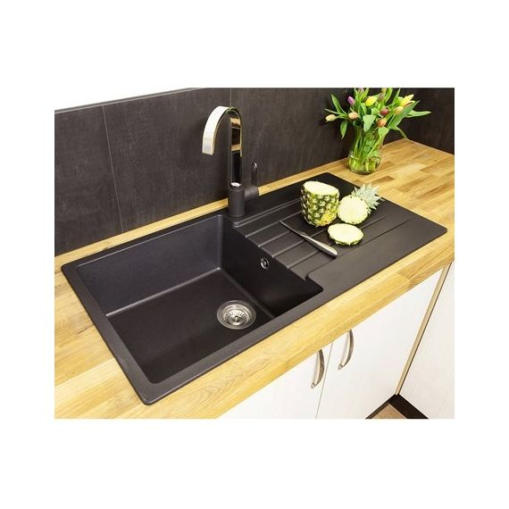Reginox Harlem 10 BS Harlem 1 Bowl Black Silver Granite Composite Sink