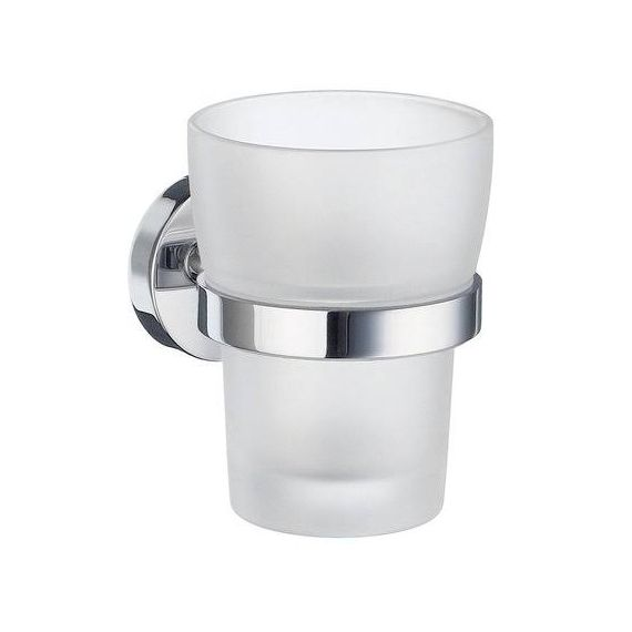 Smedbo Home Holder with Frosted Glass Tumbler Polished Chrome HK343