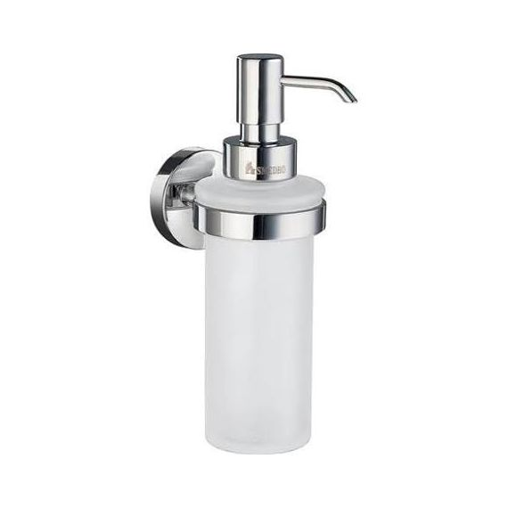 Smedbo Home Wall Mounted Holder with Glass Soap Dispenser - Polished Chrome