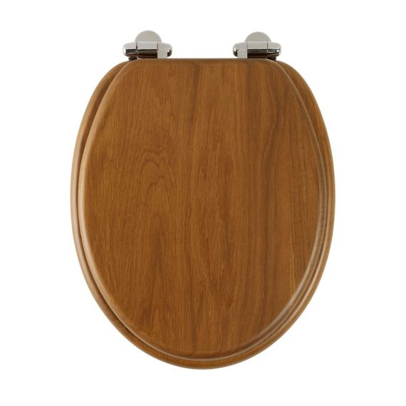 Roper Rhodes 8081HOSC Honey Oak / Chrome Soft-Closing Toilet Seat