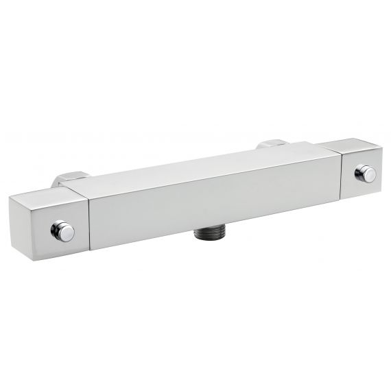Nuie Square Thermostatic Bar Valve Bottom Outlet Chrome