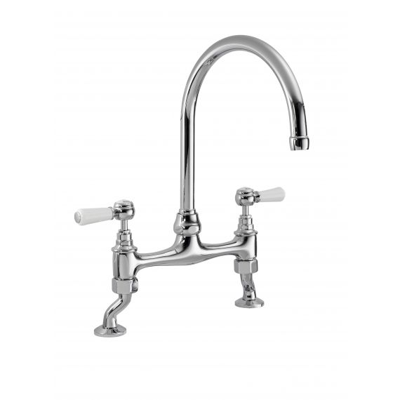 Nuie Bridge Sink Mixer with Topaz Lever Chrome