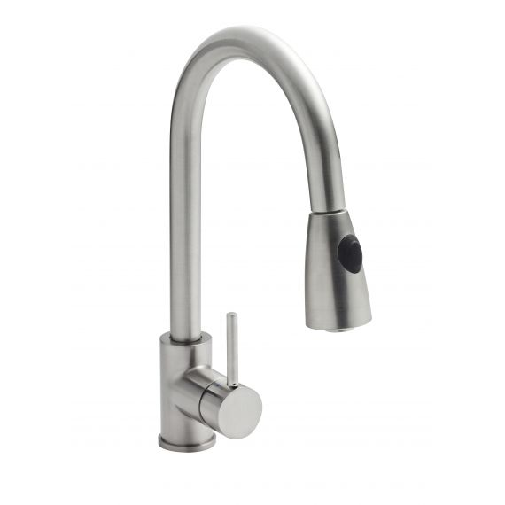Nuie Side Action Pull-out Kitchen Mixer Tap Brushed Steel