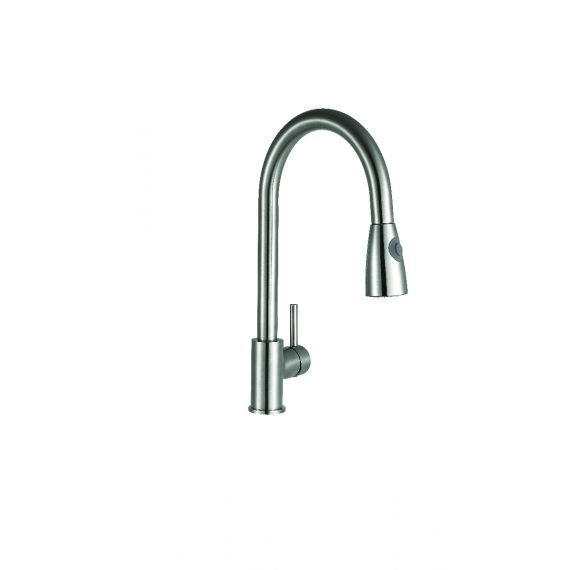 Panama Brushed Steel Kitchen Sink Mixer With Pull Out Spray